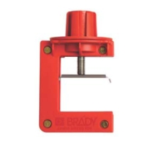 Butterfly Valve Lockout Device.  It can be used to lock a butterfly valve in the OFF position by clamping down on the handle so that it may not be engaged or moved.  This device is available in two sizes (small and large), and will accommodate valve handle thicknesses of the following:<br>Small - 3.20 mm to 63.50 mm<br>Large - 50.80 mm to 102 mm