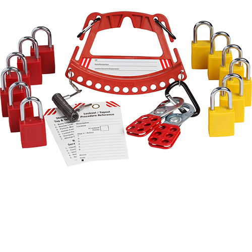 The Safety Lock and Tag system holds up to 12 safety padlocks with an offset design which permits flush wall and machine mounting. Can be easily attached to belt clips and Includes carabiners and coiled key strap for holding tags, hasps and padlock keys. Labels in English, Spanish and French and three lockout procedure tags are also supplied in additional to 6 red and 6 yellow keyed alike padlocks.