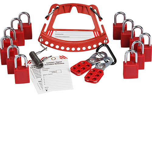 Safety Lock and Tag Carrier With 12 Keyed Different Safety Padlocks-148867