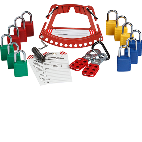 Safety Lock and Tag Carrier With 4 Sets of 3 Keyed Alike Safety Padlocks
