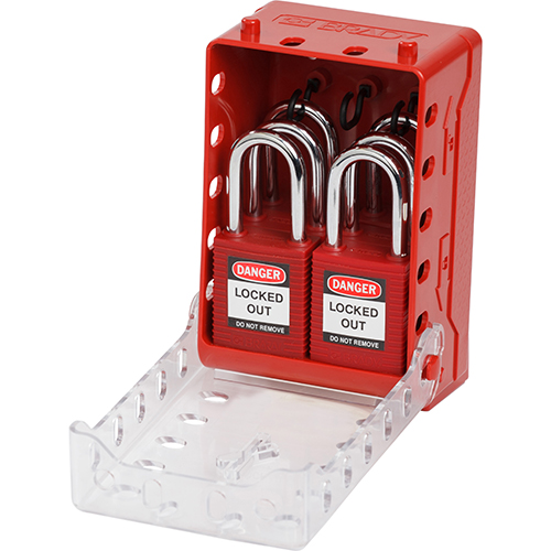 Ultracompacte lock box + 6 rode Keyed Alike-sloten