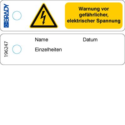 Mini-Anhänger – Warnung; gefährliche elektrische Spannung – DE   196247