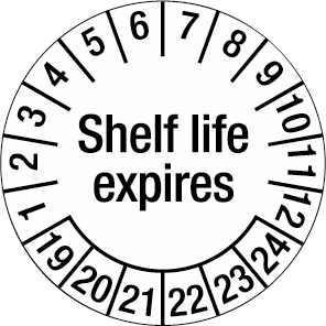 Inspection Date Label - Shelf life expires