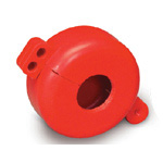 Revolutionary new rugged polystyrene plastic device is used to lockout cylinder tanks, including propane tanks on fork trucks and stand alone propane tanks. Special design allows device to be used in tight spaces. Valve stem hole is 31.50 mm in diameter