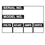 Write-on Maintenance Labels - Serial No. / Model No.-WO-36
