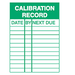 Inspection Placards - Calibration Record