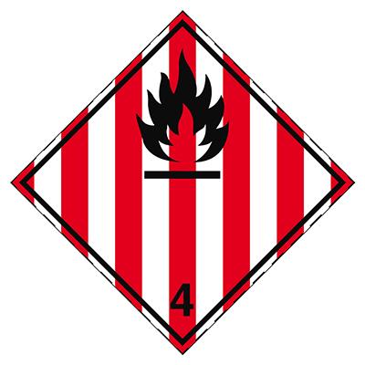 Aufkleber für den Transport gefährlicher Güter - Entzündbare feste Stoffe, selbstzersetzliche Stoffe und desensibilisierte explosive Stoffe-ADR 4.1-297*297-B7525