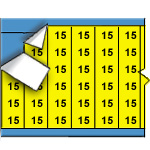 Draadmerkernummers op gekleurde achtergrond op kaart-WM-15-YL-PK