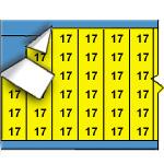 Draadmerkernummers op gekleurde achtergrond op kaart-WM-17-YL