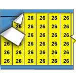Draadmerkernummers op gekleurde achtergrond op kaart-WM-26-YL-PK