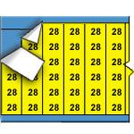 Draadmerkernummers op gekleurde achtergrond op kaart-WM-28-YL-PK