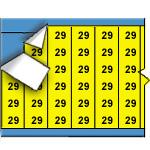 Draadmerkernummers op gekleurde achtergrond op kaart-WM-29-YL-PK