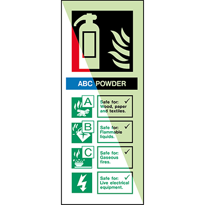 Glow-in-the-dark safety sign - Fire extinguisher Dry powder For use on Wood, paper and textiles…