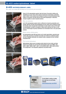 B-403 Water Dissolvable Label Sellsheet - Dutch