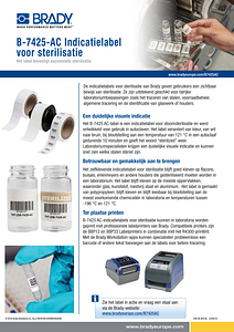 B-7425 Sterilisation Indicating Label Sellsheet - Dutch