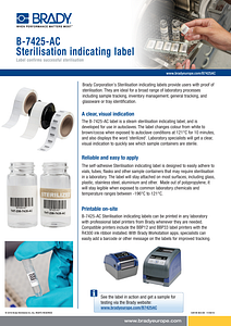 B-7425 Sterilisation Indicating Label Sellsheet - English