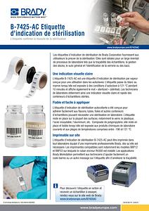 B-7425 Sterilisation Indicating Label Sellsheet - French