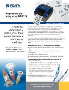 Hoja informativa de la impresora BBP11