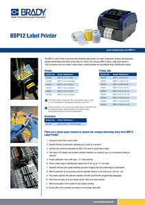 BBP12 Label printer sell sheet in English