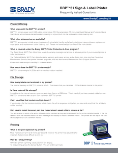 BBP31 Sign and Label Printer FAQ - English