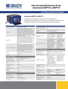 Hoja de especificaciones técnicas de las impresoras BBP35 y BBP37