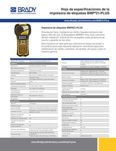 Hoja de especificación de la impresora BMP21-PLUS
