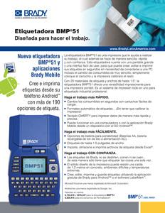 Hoja informativa de la impresora BMP51 enfocada en laboratorios