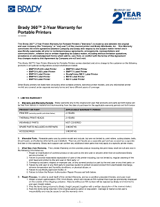 Brady 360 2 Year Warranty Terms and Conditions for Portable Printers