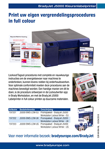 BradyJet J5000 Lockout Writer sellsheet - Dutch