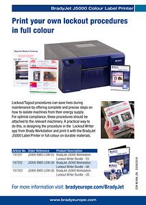 BradyJet J5000 Lockout Writer sellsheet - English