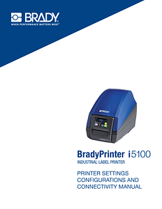BradyPrinter i5100 Configuration Manual