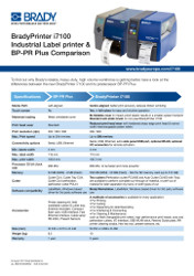 BradyPrinter i7100 and BP PR Comparison Sheet - English