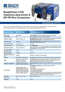BradyPrinter i7100 and BP PR Comparison Sheet - English
