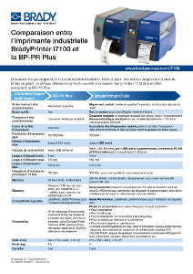 BradyPrinter i7100 and BP PR Comparison Sheet - French