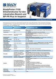 BradyPrinter i7100 and BP PR Comparison Sheet - German