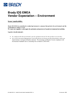 Brady IDS EMEA Supplier Environment Expectation
