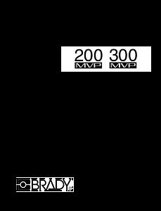 Bradyprinter 200MVP Plus / 300MVP Plus User Manual - English