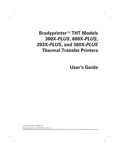 X-Plus Series Printer Manual | BradyID com