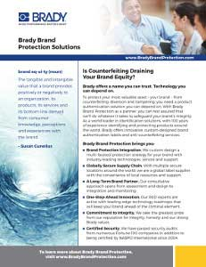 Brady Brand Protection Solutions Overview