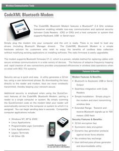 CodeXML Bluetooth Modem Datasheet