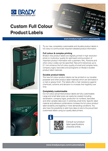 Custom Full Colour Product Labels Sellsheet - English
