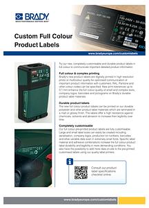 Custom Full Colour Product Labels Sellsheet - English