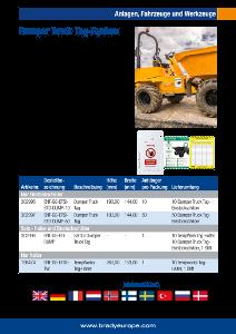 Dumper Truck Tag sellsheet - German