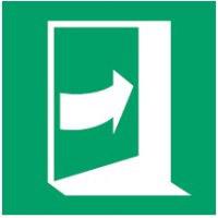 ISO Sicherheitskennzeichnung - Tür öffnet durch Aufdrücken auf der linken Seite-PIC E023-500x500-FLO-CRD/1