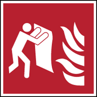 Feuerlöschdecke–Sicherheitsschild–ISO7010-F/F016/NT-SA-200x200/1-B