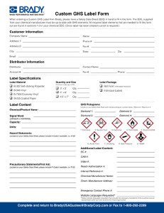 Custom Globally Harmonized System (GHS) Labels
