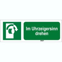 ISO 7010 Zeichen - Im Uhrzeigersinn drehen-STDE E019-297x105-PE-CRD/1