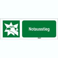 ISO 7010 Zeichen - Notausstieg-STDE E017-450x150-PP-CRD/1