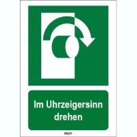 ISO 7010 Zeichen - Im Uhrzeigersinn drehen-STDE E019-210x297-AL-CRD/1