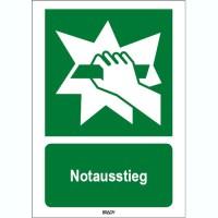 ISO 7010 Zeichen - Notausstieg-STDE E017-600x200-PP-CRD/1